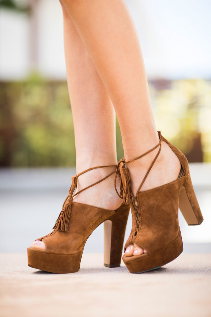 Tanger Outlets Saks OFF 5th brown suede heels