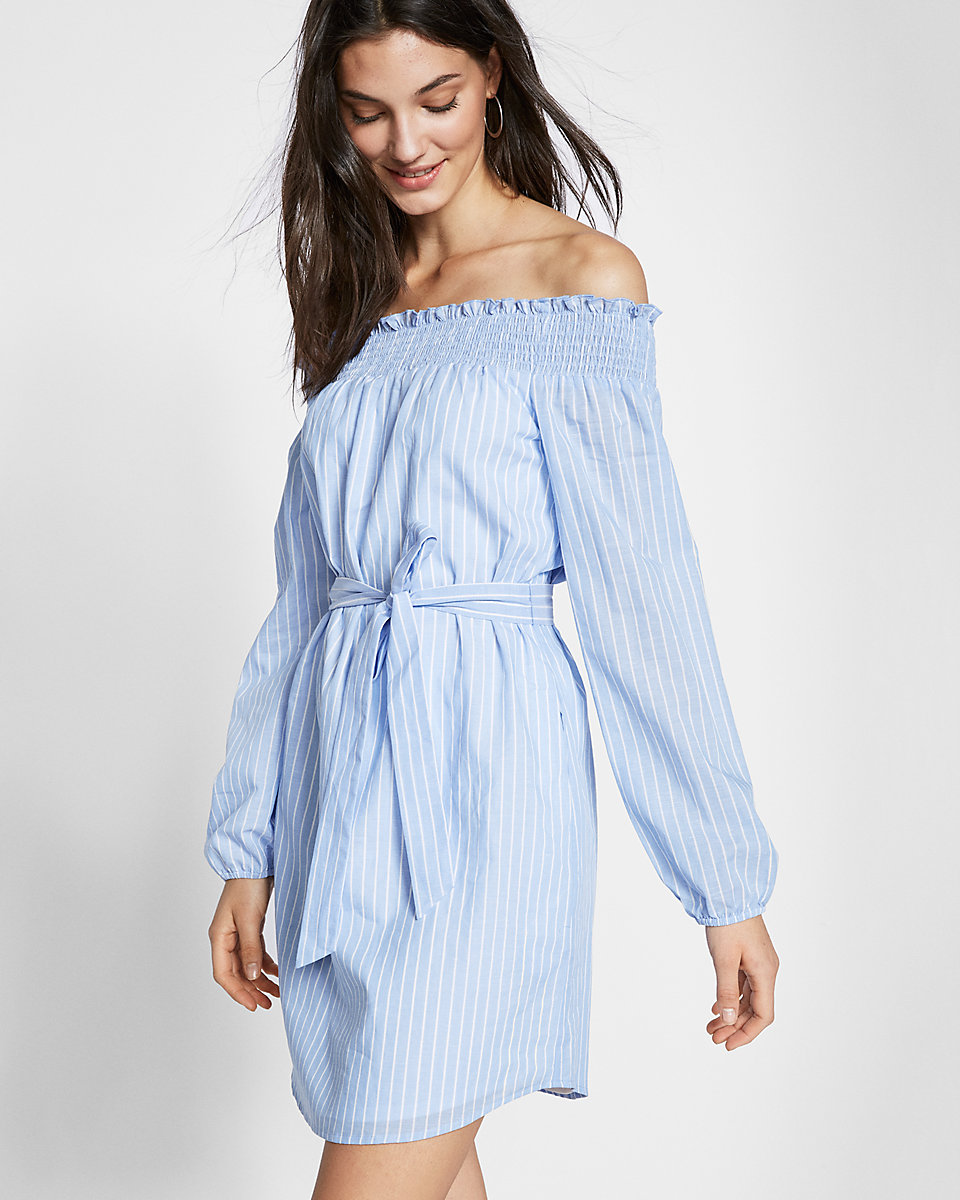 Tanger Outlets Express Factory Outlet striped off the shoulder shift dress