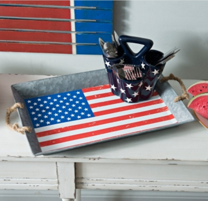 Tanger Outlets Kirkland's Galvanized American Flag Serving Tray