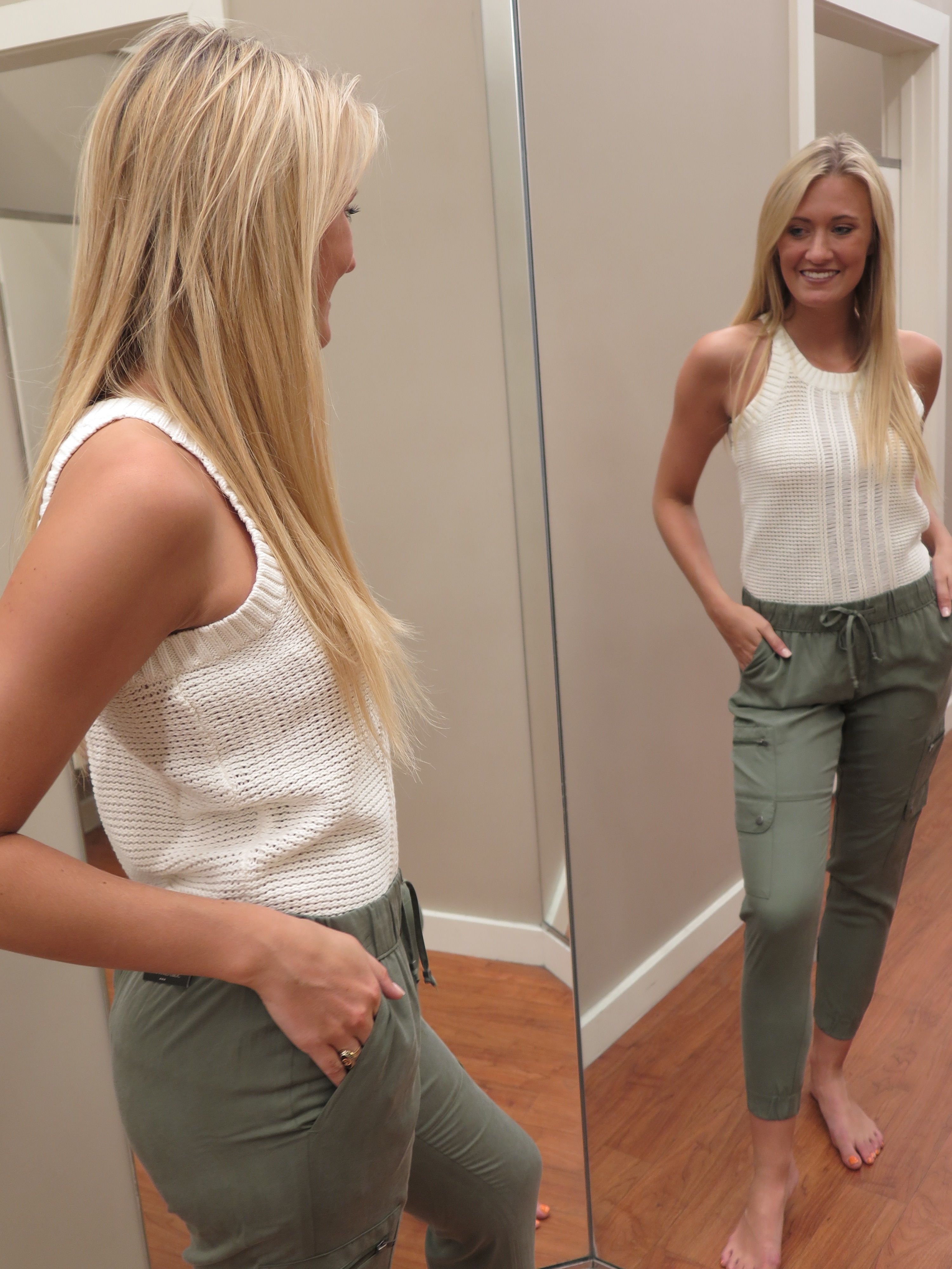 Tanger Outlets Banana Republic Factory Store white sweater tank, army green cargo joggers
