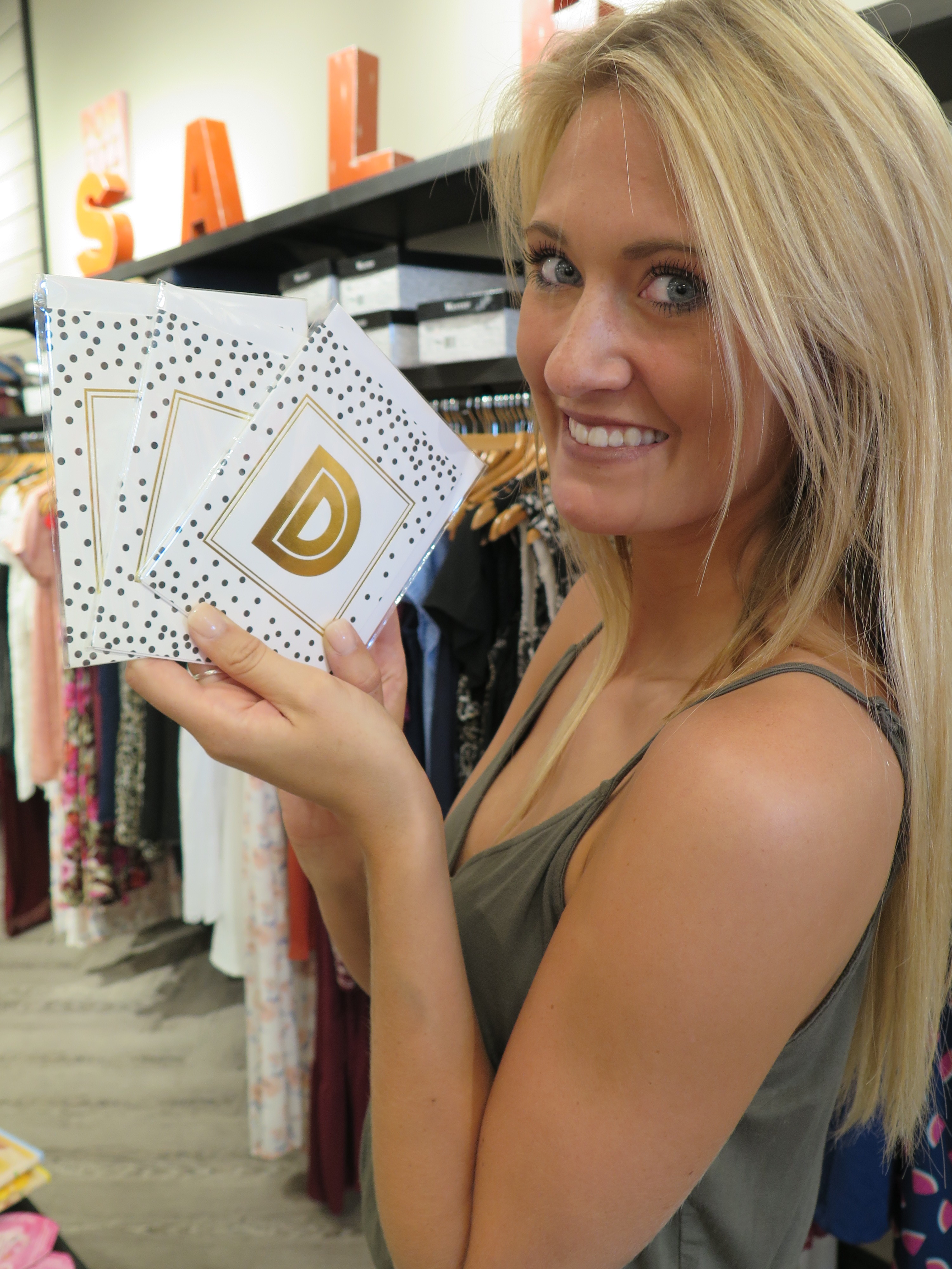 Tanger Outlets francesca's initial cards