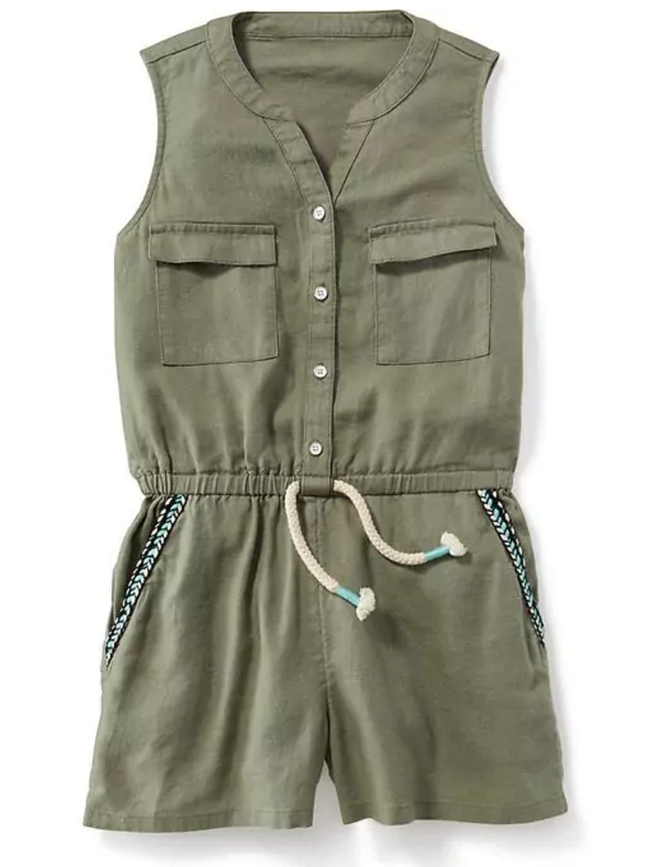 Tanger Outlets Old Navy Outlet girl's army green utility romper