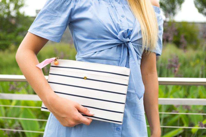 tanger outlets j crew striped clutch