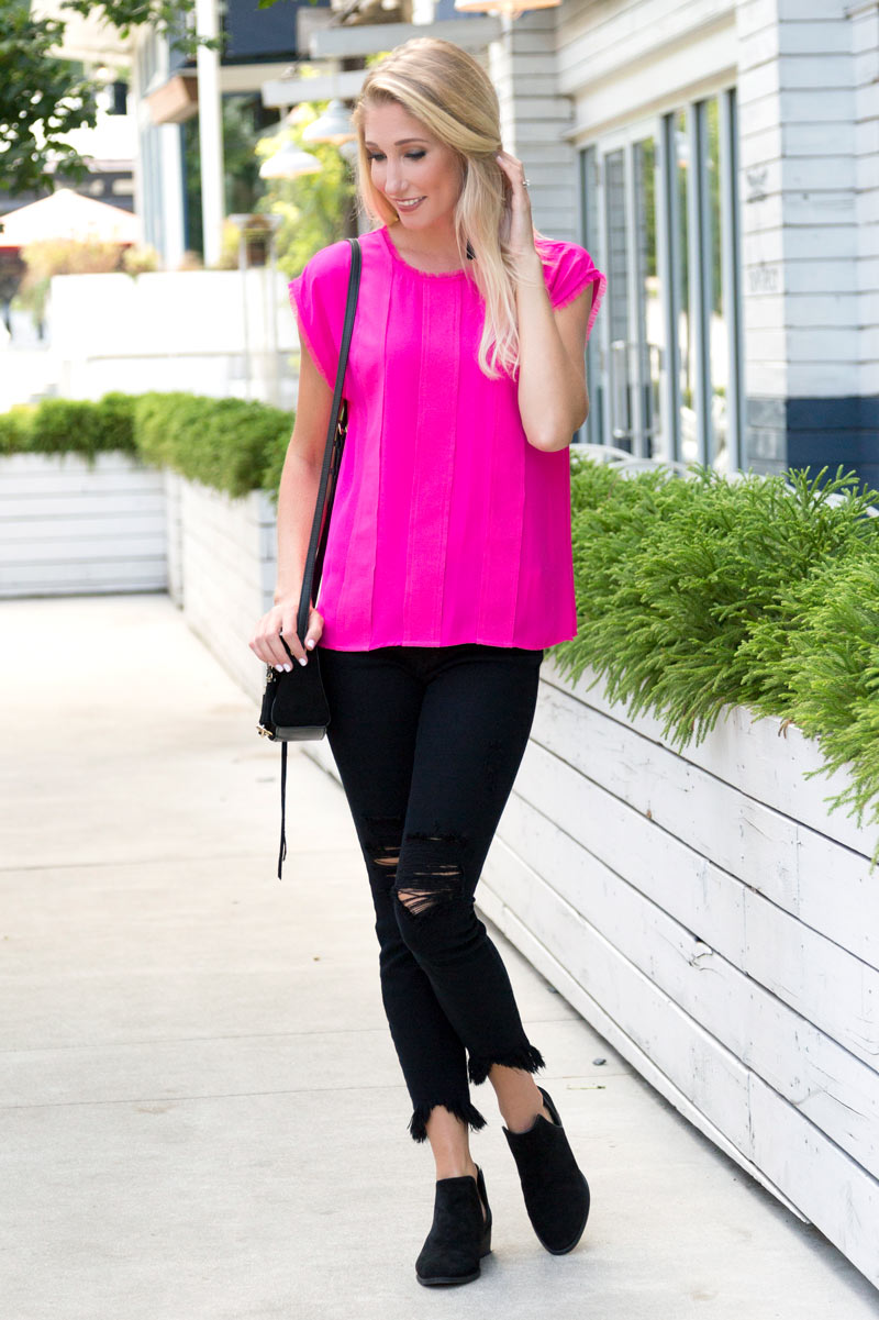tanger outlets saks off fifth hot pink blouse