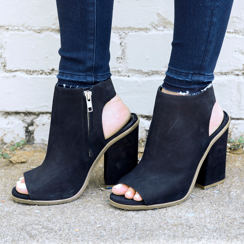 tanger outlets saks off fifth peep toe black bootie