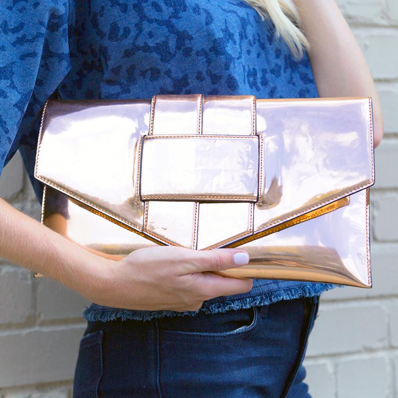 tanger outlets saks off fifth metallic envelope clutch