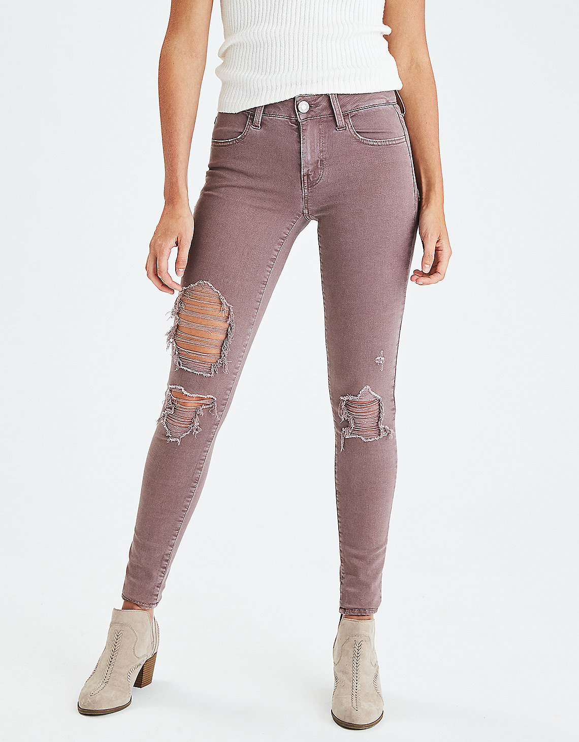 tanger outlets american eagle lavender distressed jegging