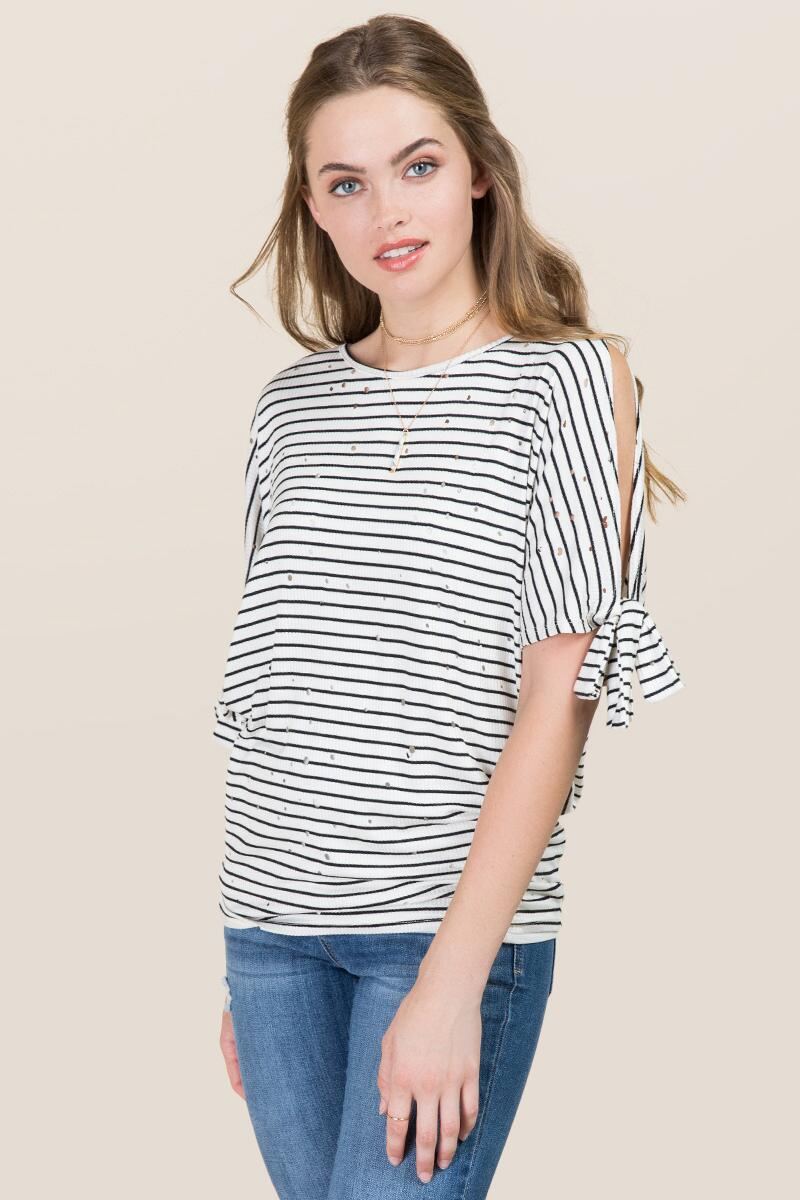 tanger outlets francescas striped basic tee