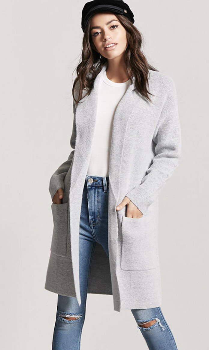 tanger outlets forever 21  open-front long light grey cardigan