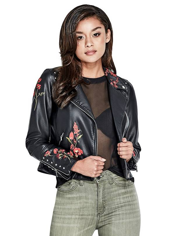 tanger outlets guess black leather embroidered jacket