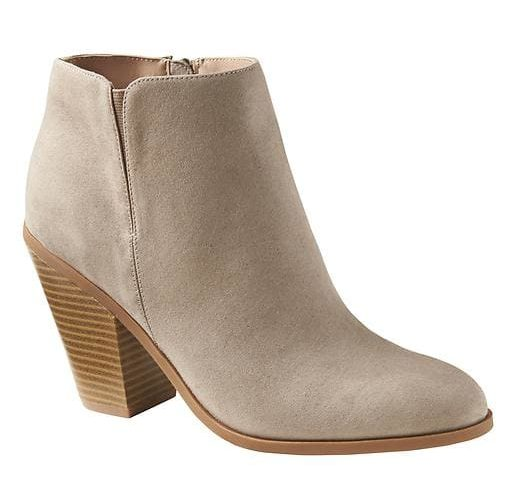 tanger outlets banana republic nuetral suede booties