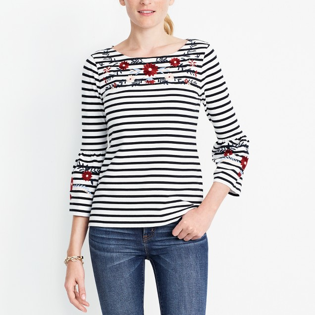 tanger outlets j crew striped embroidered top