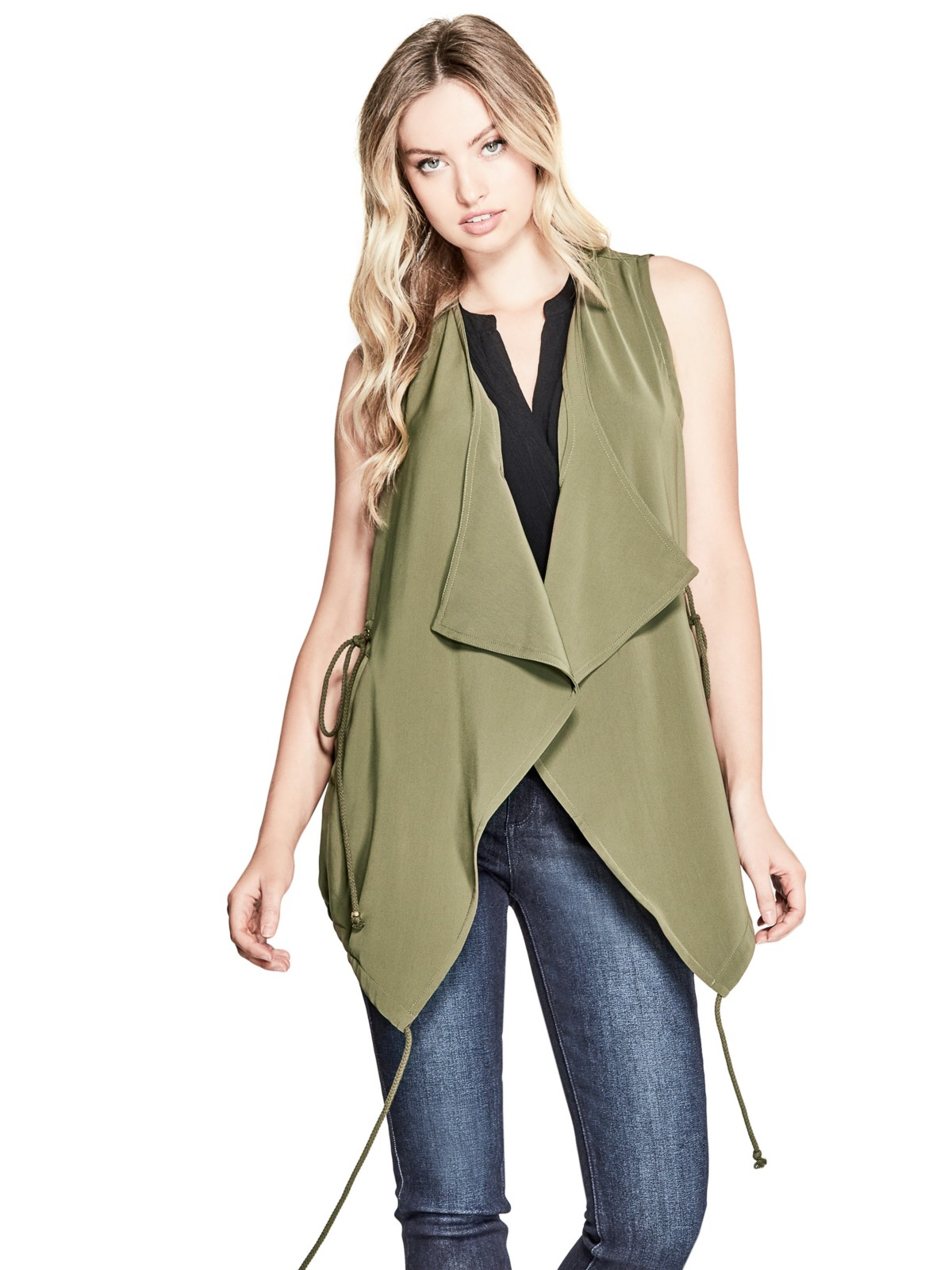 tanger outlets guess olive layer cut vest
