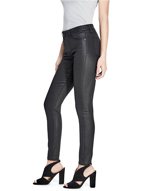 tanger outlets guess black coated skinny jeans