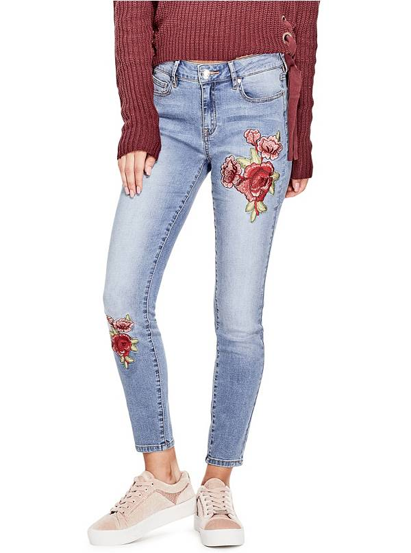 tanger outlets guess floral embroidered light skinny jeans