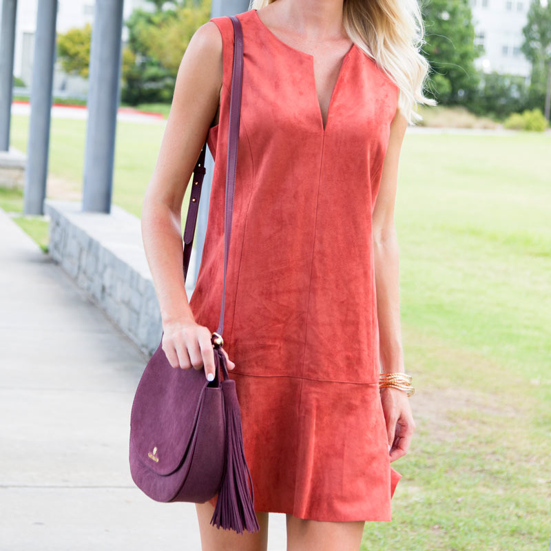 tanger outlets saks off fifth suede peplum mini dress