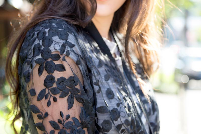 tanger outlets express sheer embroidered jacket