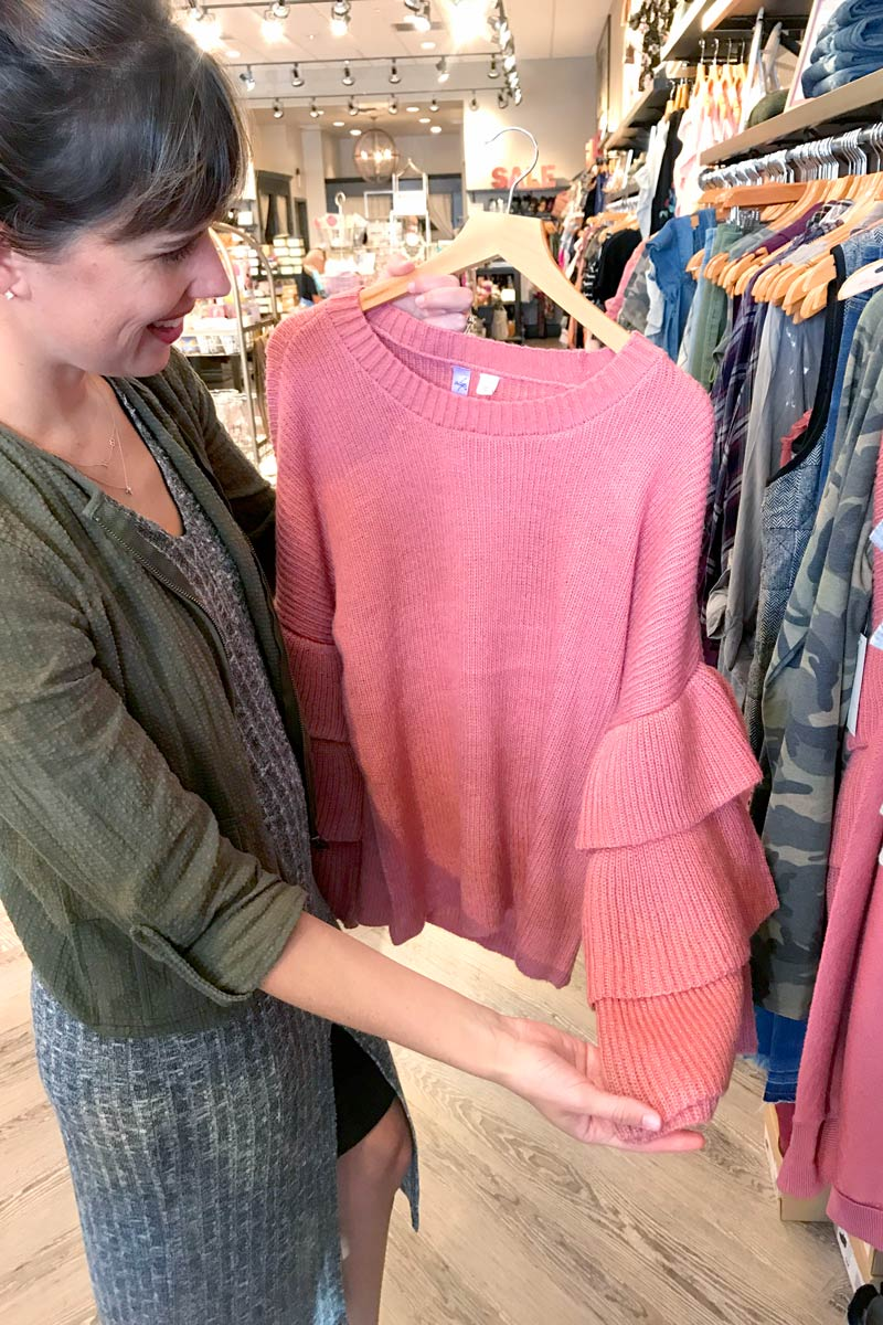 tanger outlets francescas pink ruffle sleeve sweater