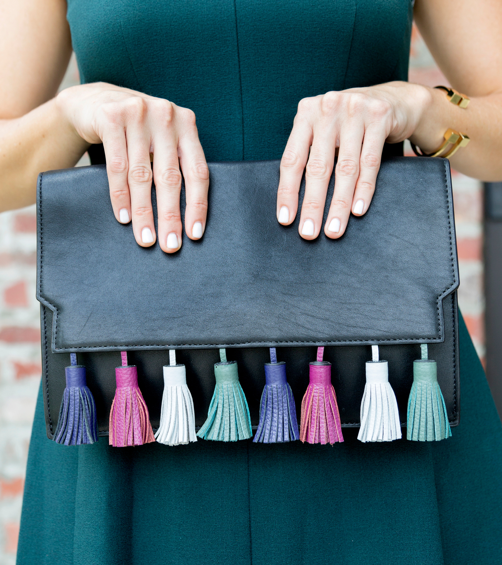 tanger outlets saks off fifth black and colored tasseled clutch