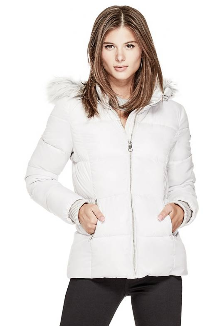 tanger outlets guess white puffer jacket