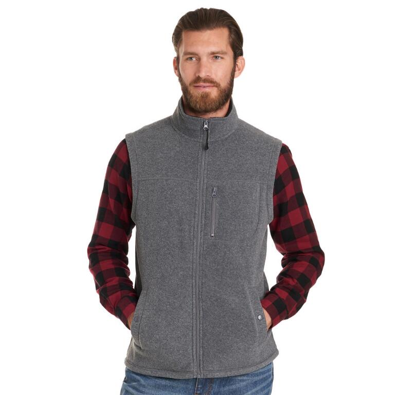 tanger outlets bass mens grey fleece vest