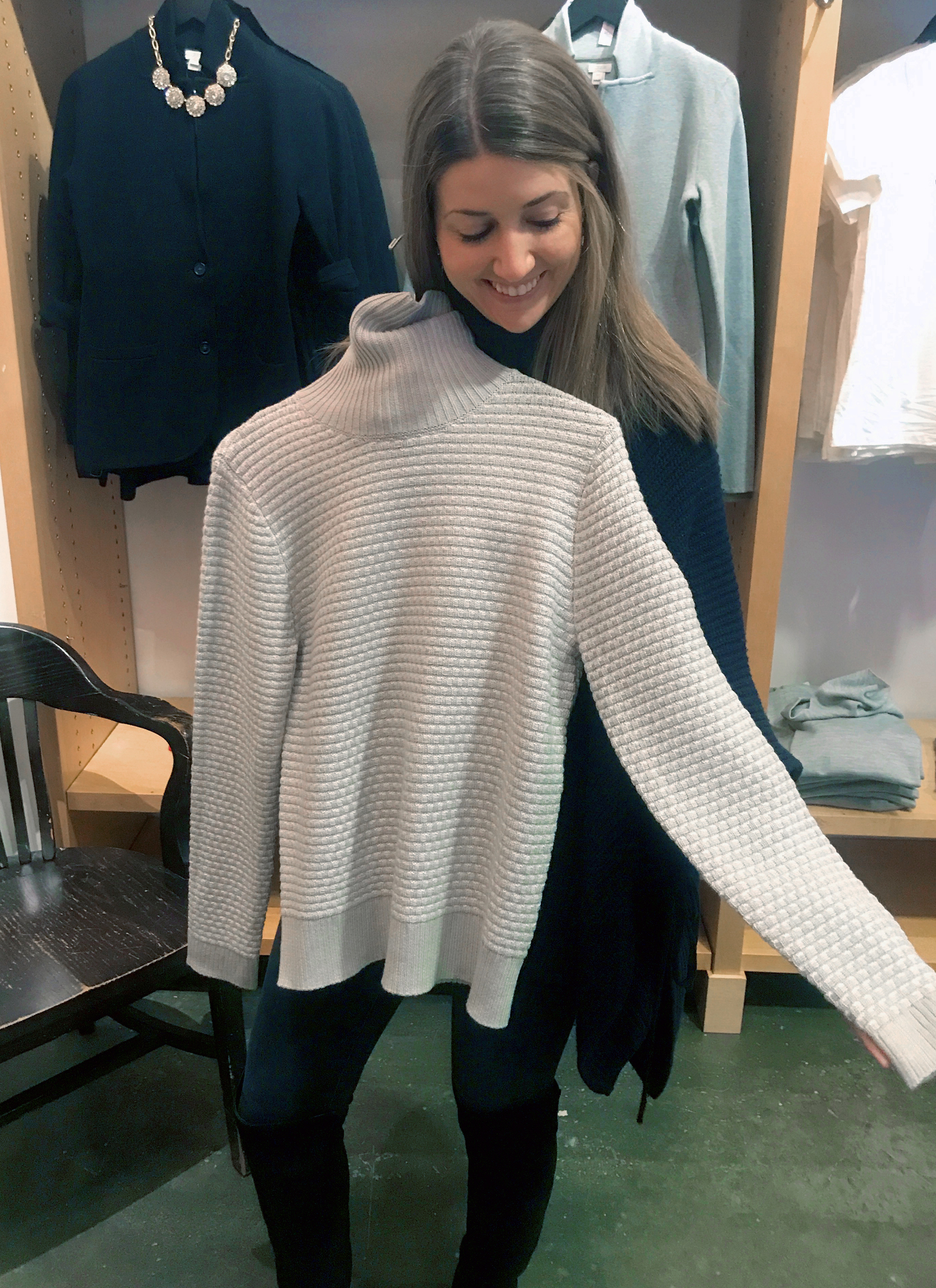 tanger outlets j crew grey textured turtleneck