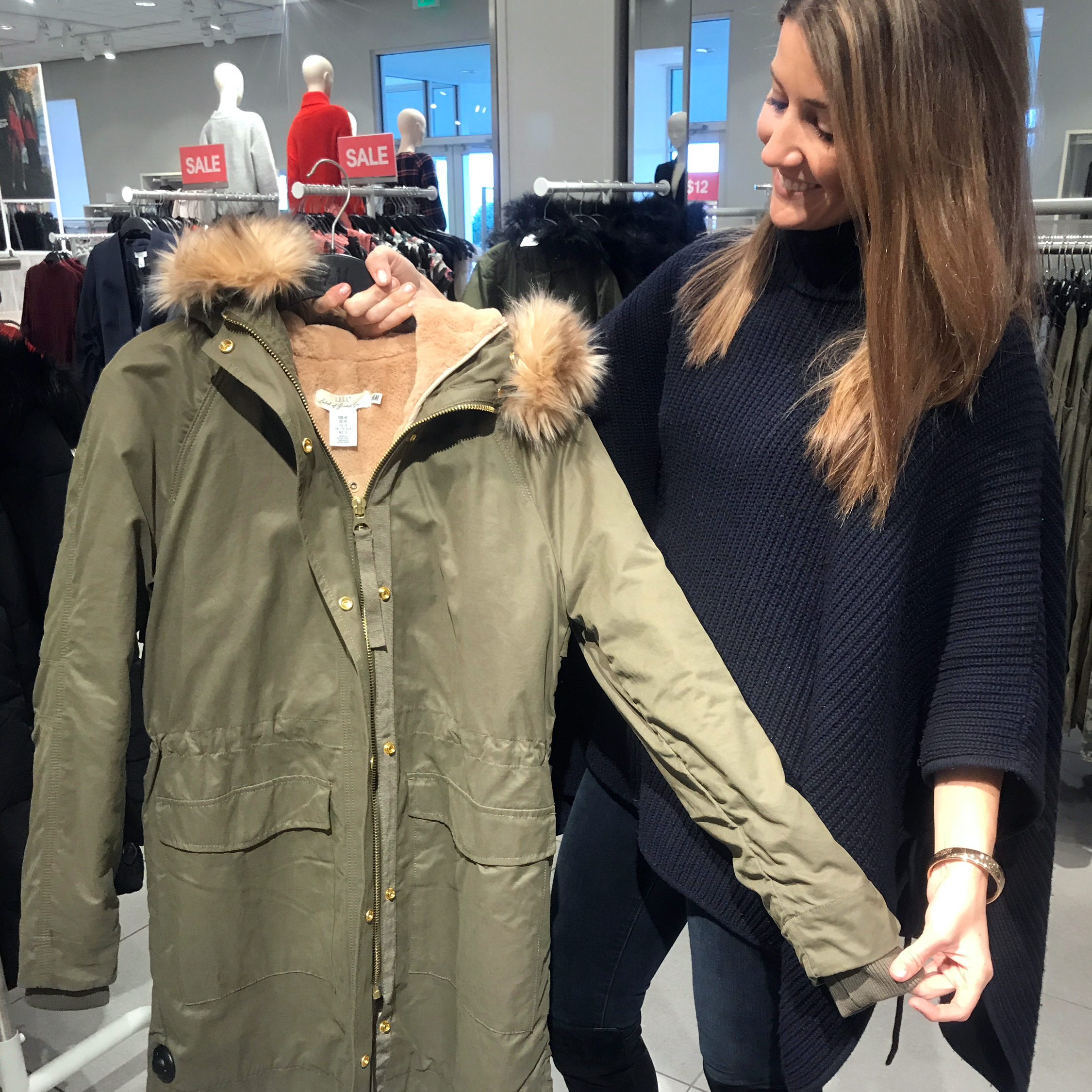tanger outlets h&m long army green coat