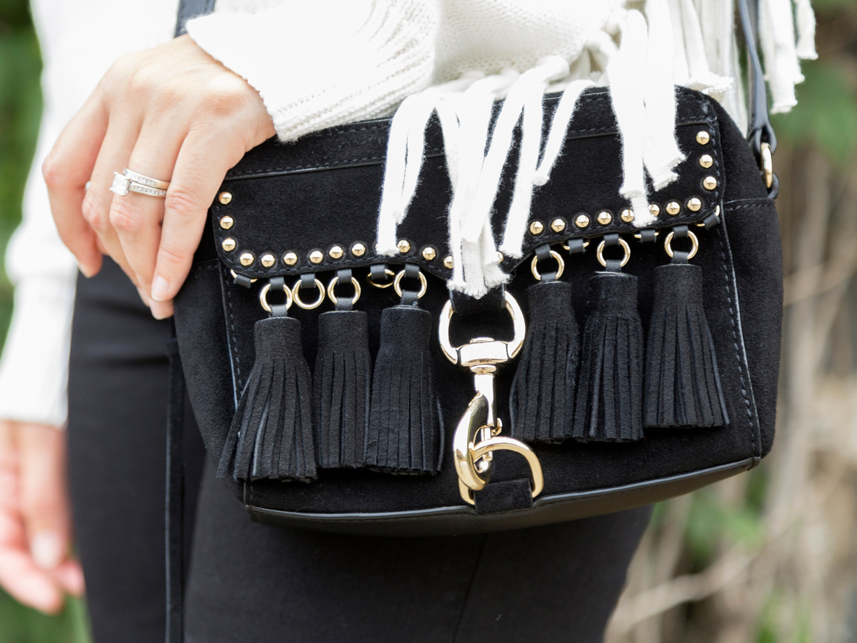 tanger outlets saks off fifth black fringe crossbody purse