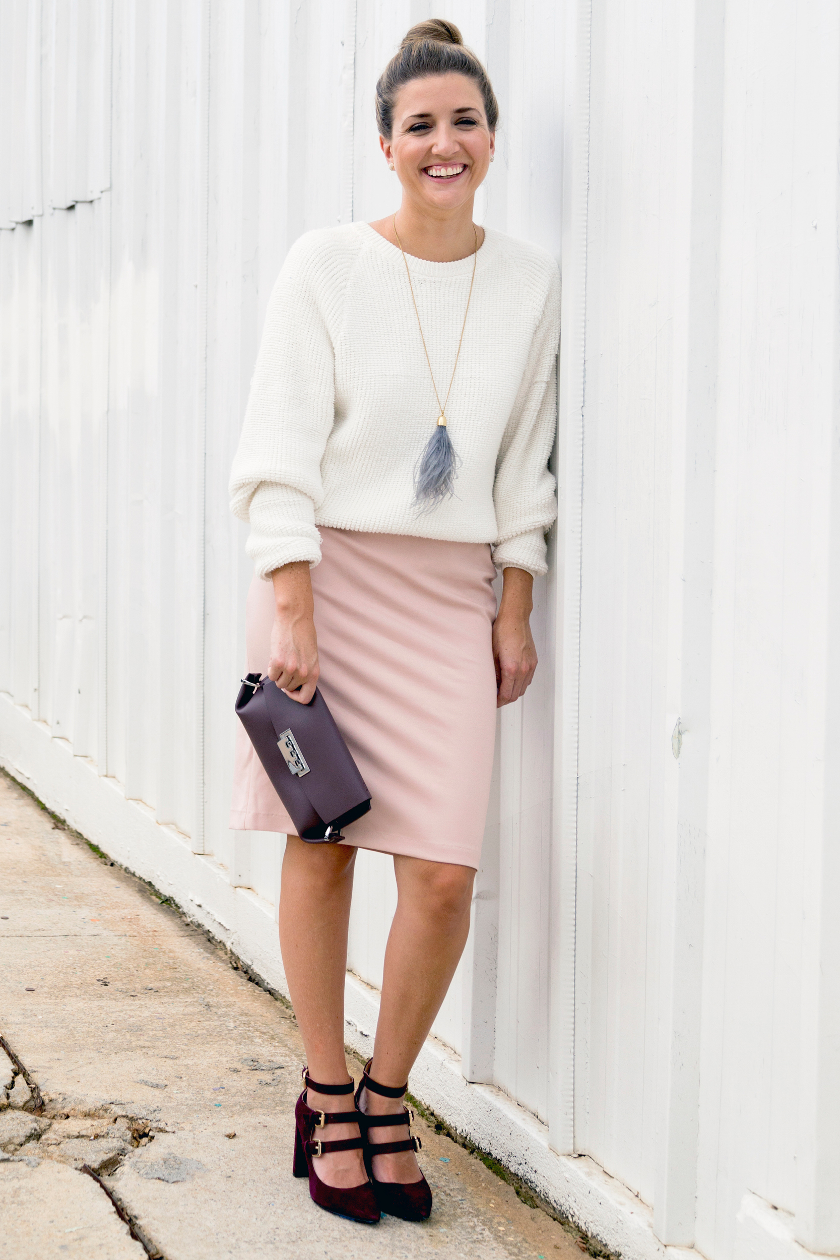 tanger outlets saks off fifth white crew sweater and blush skirt