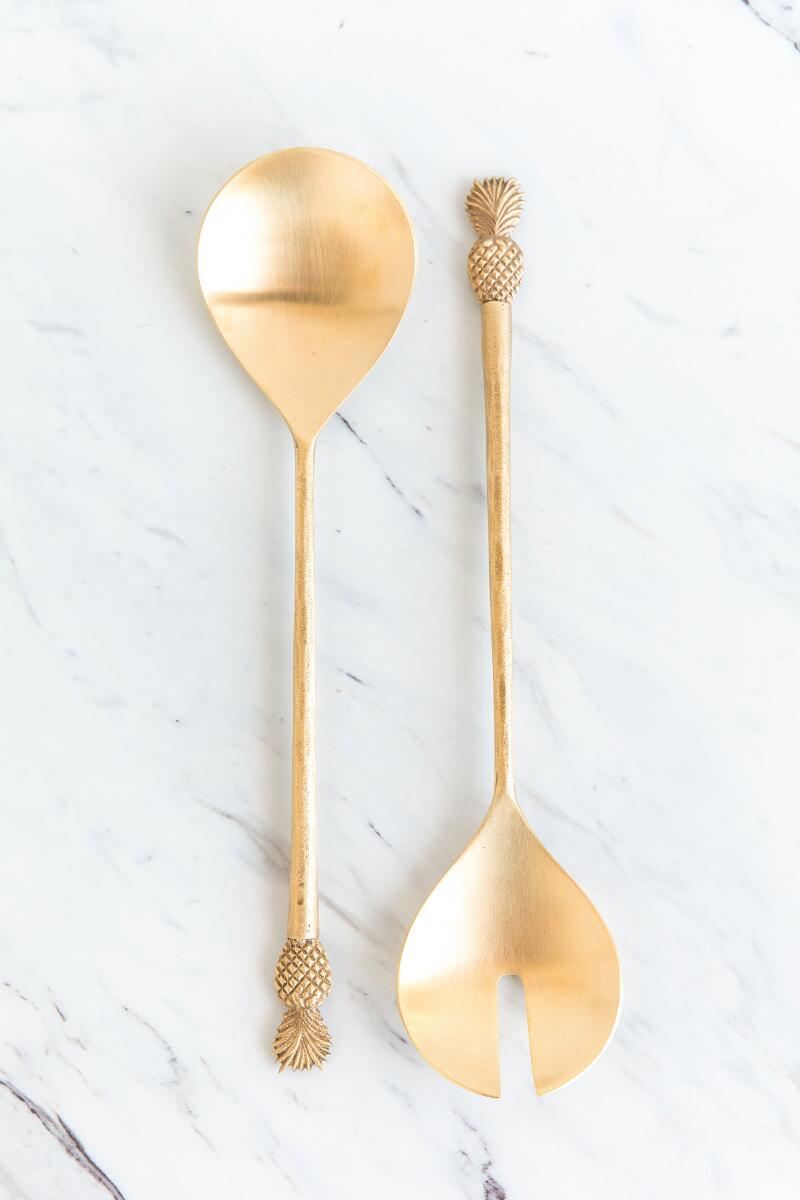 tanger outlets francescas gold pineapple salad servers