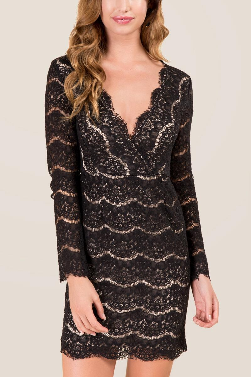 tanger outlets francesca's black lace dress
