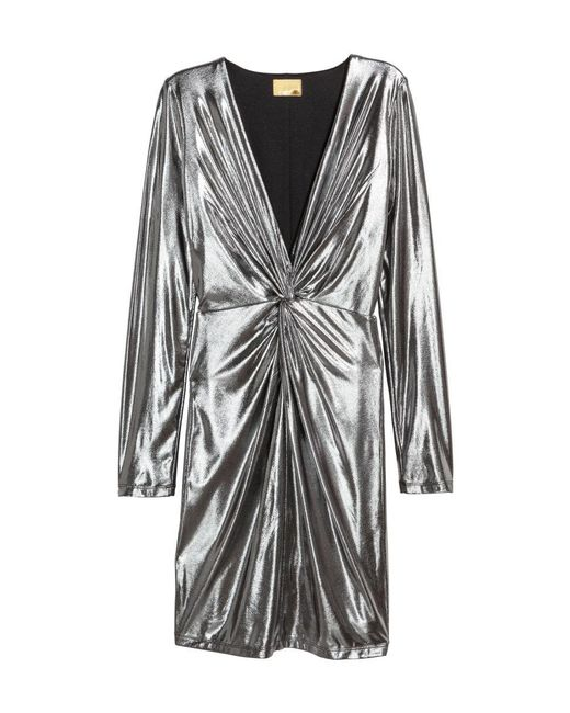 tanger outlets h&m silver fitted long sleeve deep v dress
