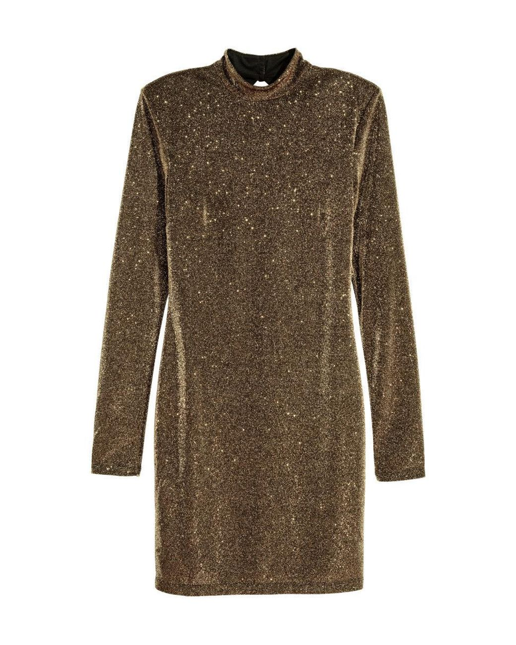 tanger outlets h&m shimmery gold long sleeve fitted dress