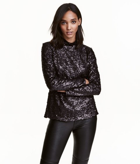 tanger outlets h&m black sequined long sleeve top