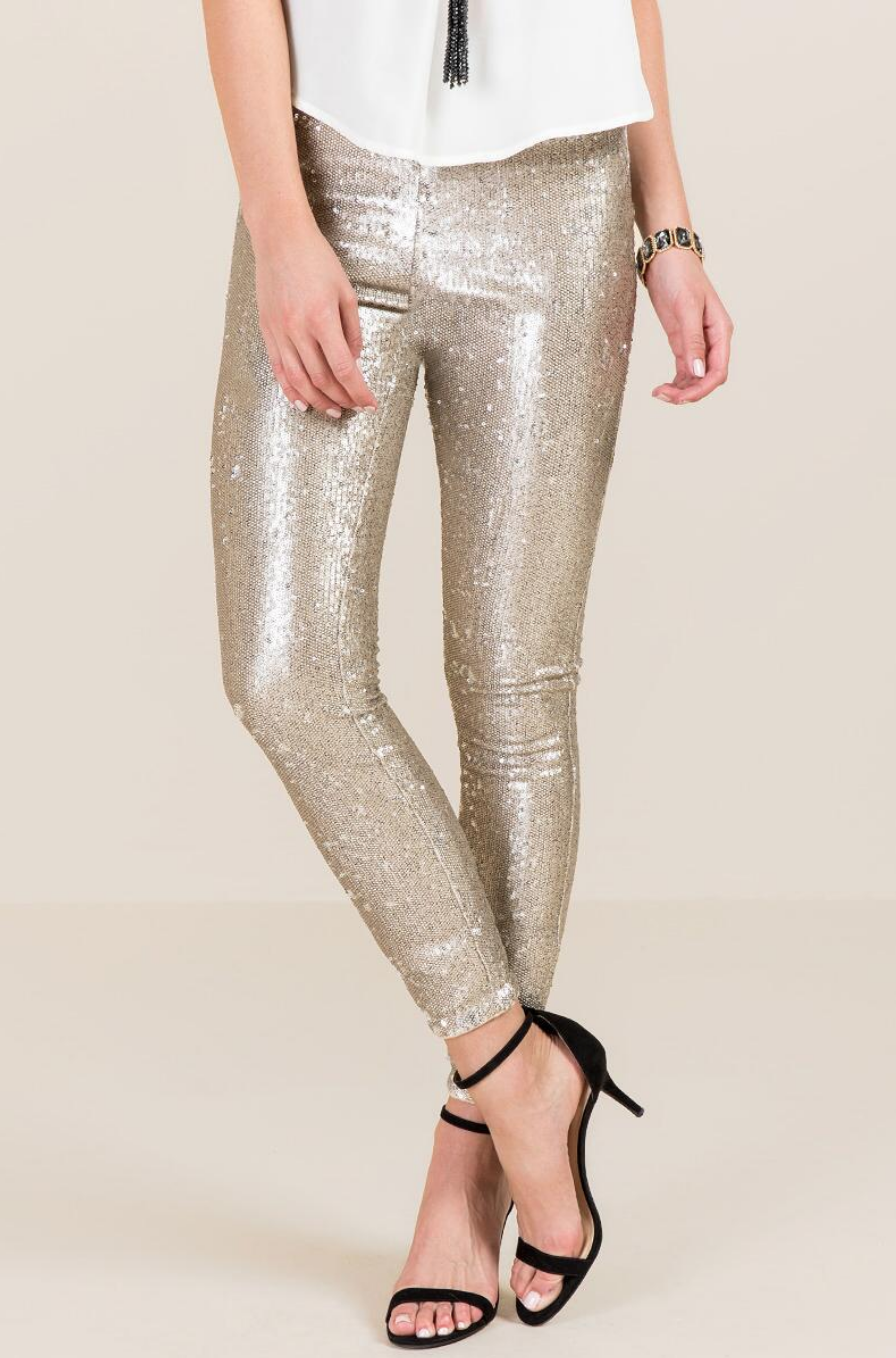 tanger outlets francescas matte gold sequin pants