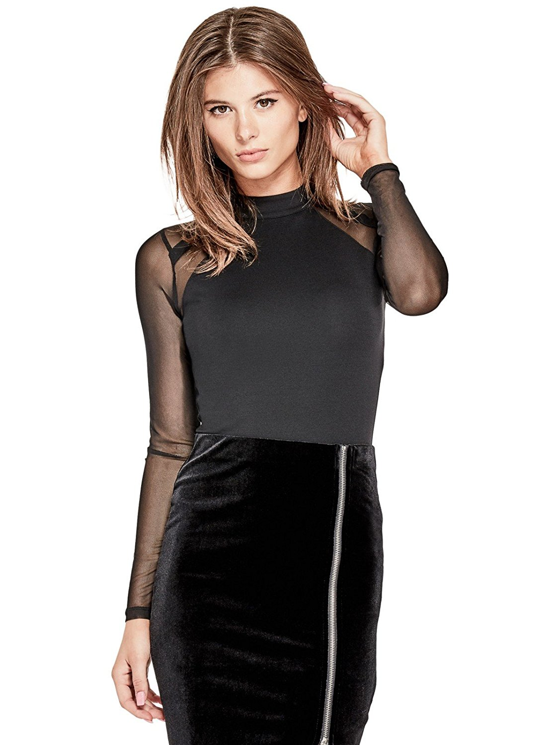 tanger outlets guess long sleeve black mesh bodysuit