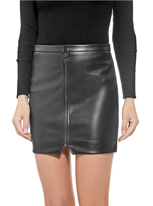 tanger outlets guess faux leather mini skirt