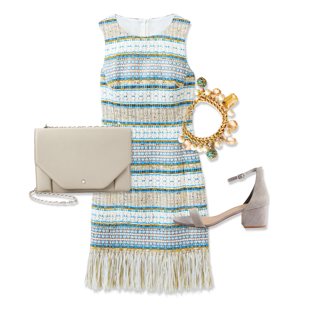 Tanger Outlets Karen Millen fringe tweed dress