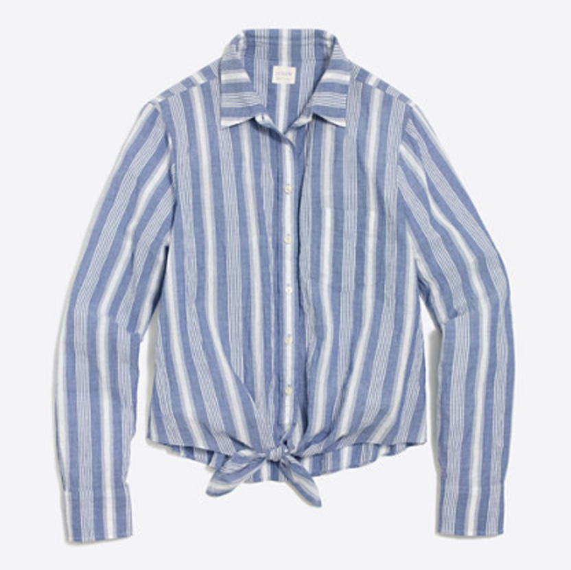 Tanger Outlets J.Crew Factory button down tie striped top