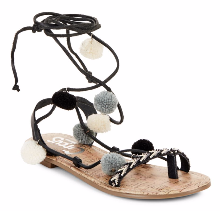 Tanger Outlets Saks OFF 5th pompom sandals