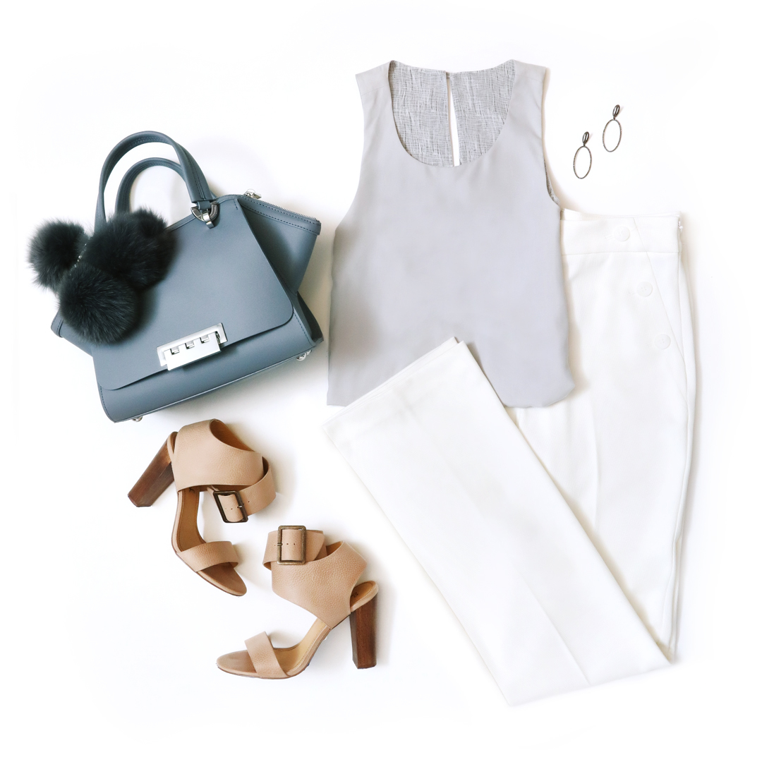 Zac Posen gray tote, tan open toe heels, white pants, silver tank top.