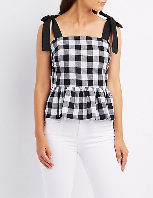 Tanger Outlets Charlotte Russe gingham peplum tank