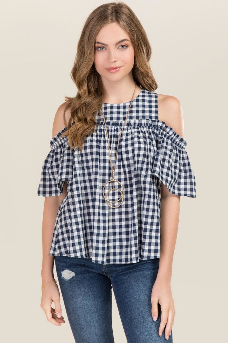 Tanger Outlets francesca's gingham ruffle top
