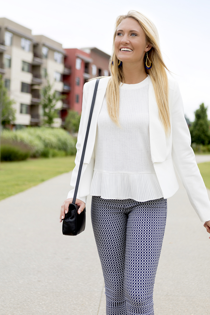 Tanger Outlets Saks OFF 5th BCBGMAXAZRIA Peplum white Jacket