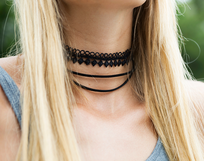 Tanger Outlets Saks OFF 5th black lace choker