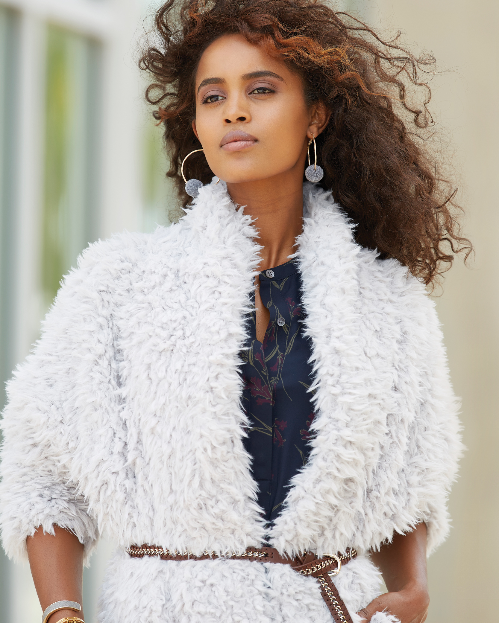 Tanger Outlets shearling coat trend
