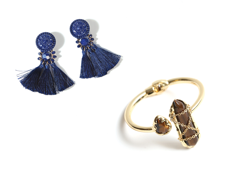 Tanger Outlets navy tassel earrings and gold bracelet with statement stone