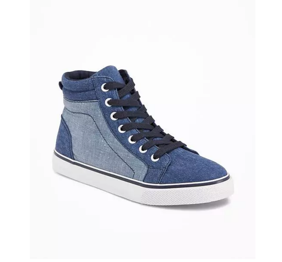 Tanger Outlets Old Navy Outlet boy's chambray high top sneakers