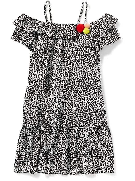 Tanger Outlets Old Navy kids off the shoulder leopard dress