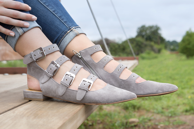 tanger outlets saks off fifth grey buckle flats